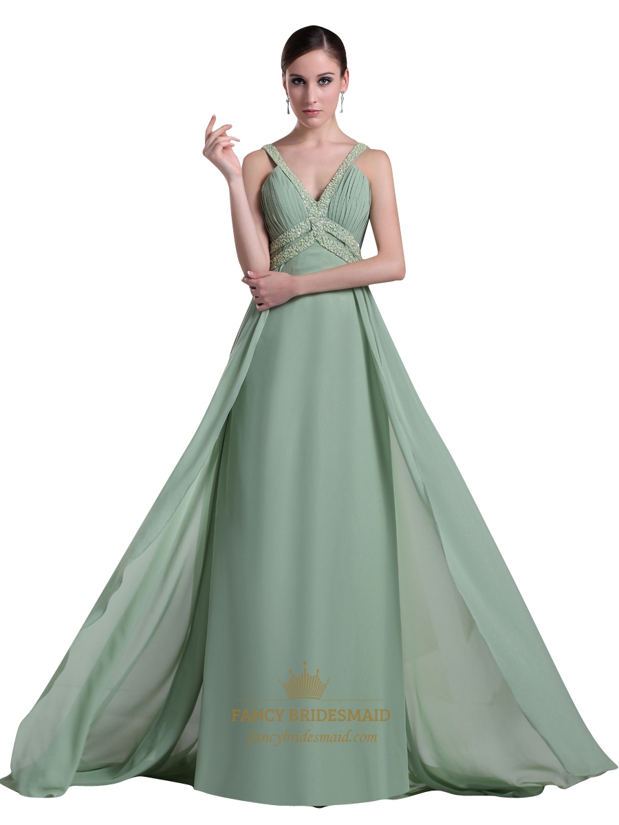Sage Green V Neck Chiffon Prom Dress With Beaded Neckline And Straps