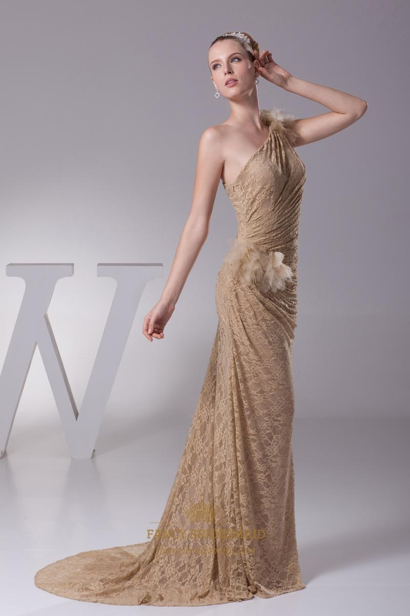 Champagne Lace Mermaid One Shoulder Sweep Train Prom Dress