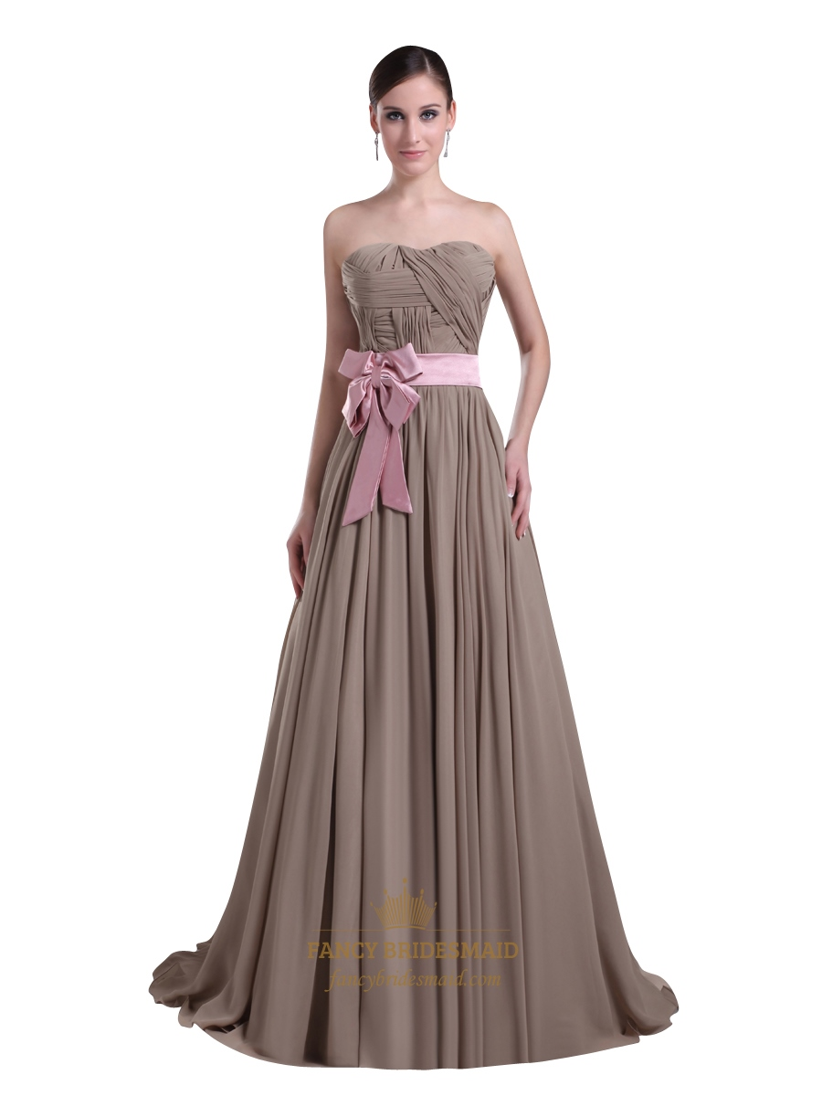 Coffee Strapless Chiffon Sweep Train Prom Dress With Big Bow On ...