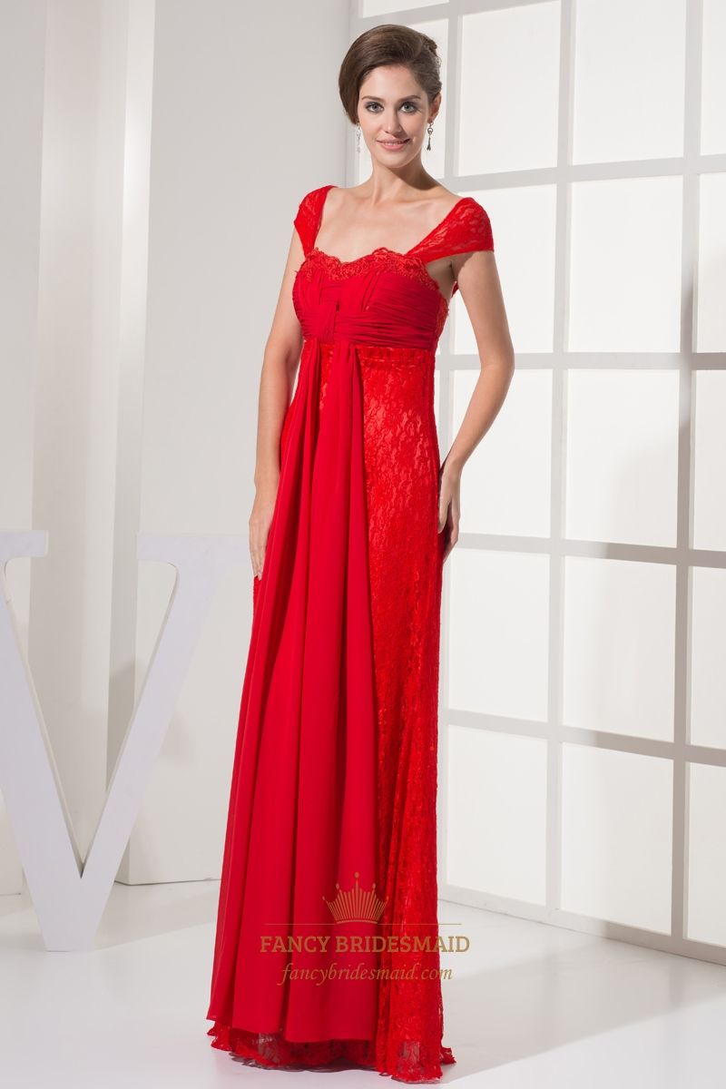 Flowy red sweetheart lace sheath cap sleeves prom dress for Flowy wedding dress with sleeves