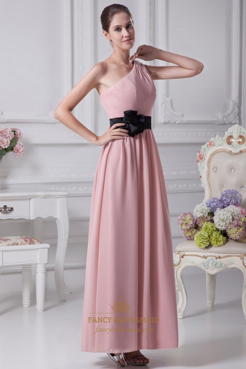 Dusty pink one shoulder chiffon bridesmaid dresses with black sash dusty pink one shoulder chiffon bridesmaid dresses with black sash ombrellifo Gallery
