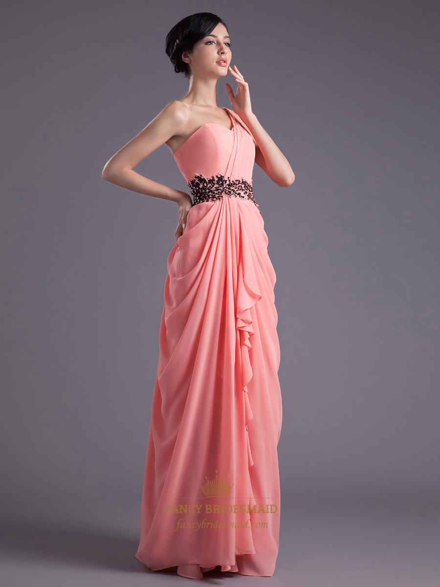 coral one shoulder side draped chiffon prom dress with