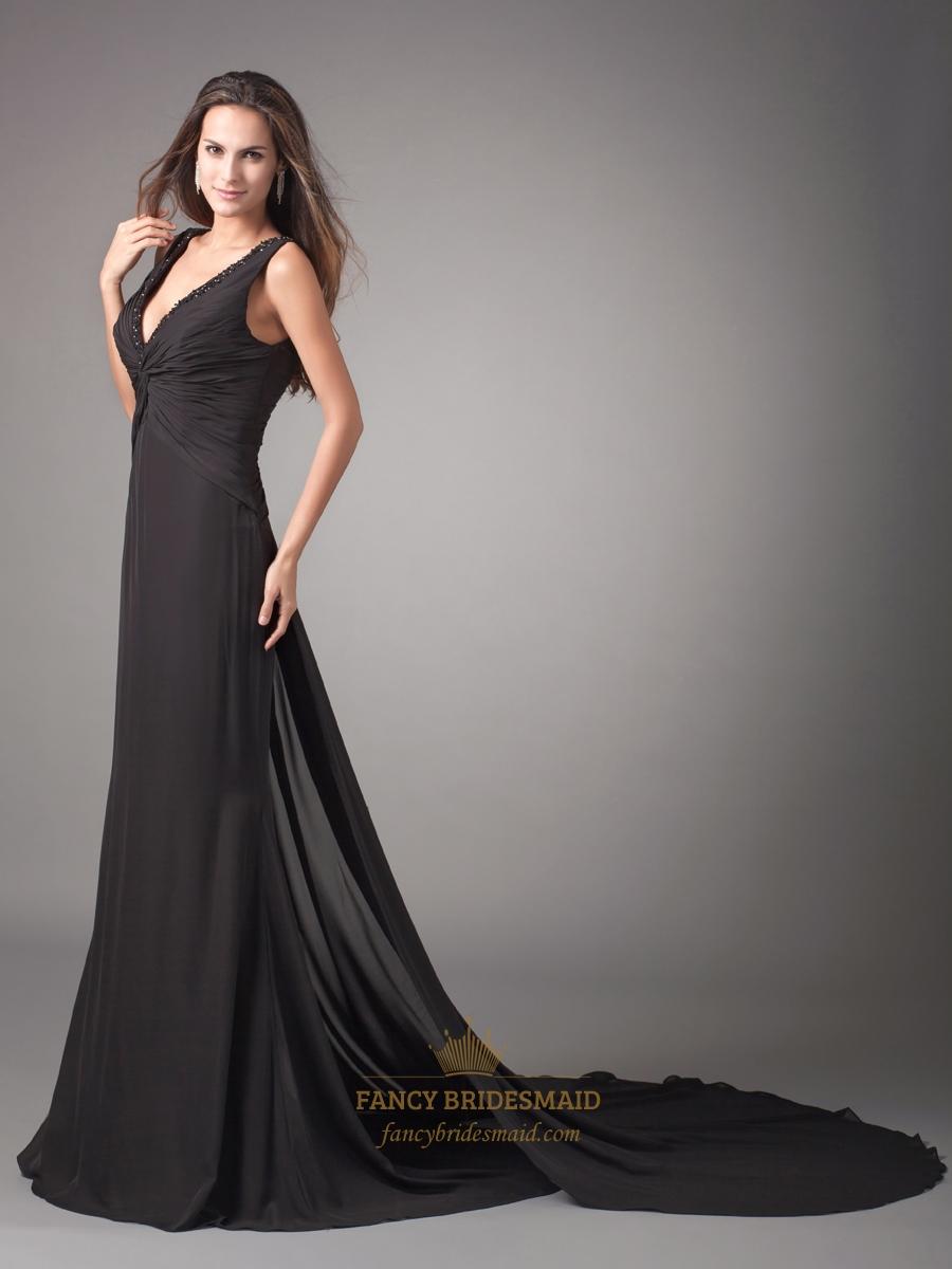 Black Mermaid V Neck Sweep Train Chiffon Prom Dress With