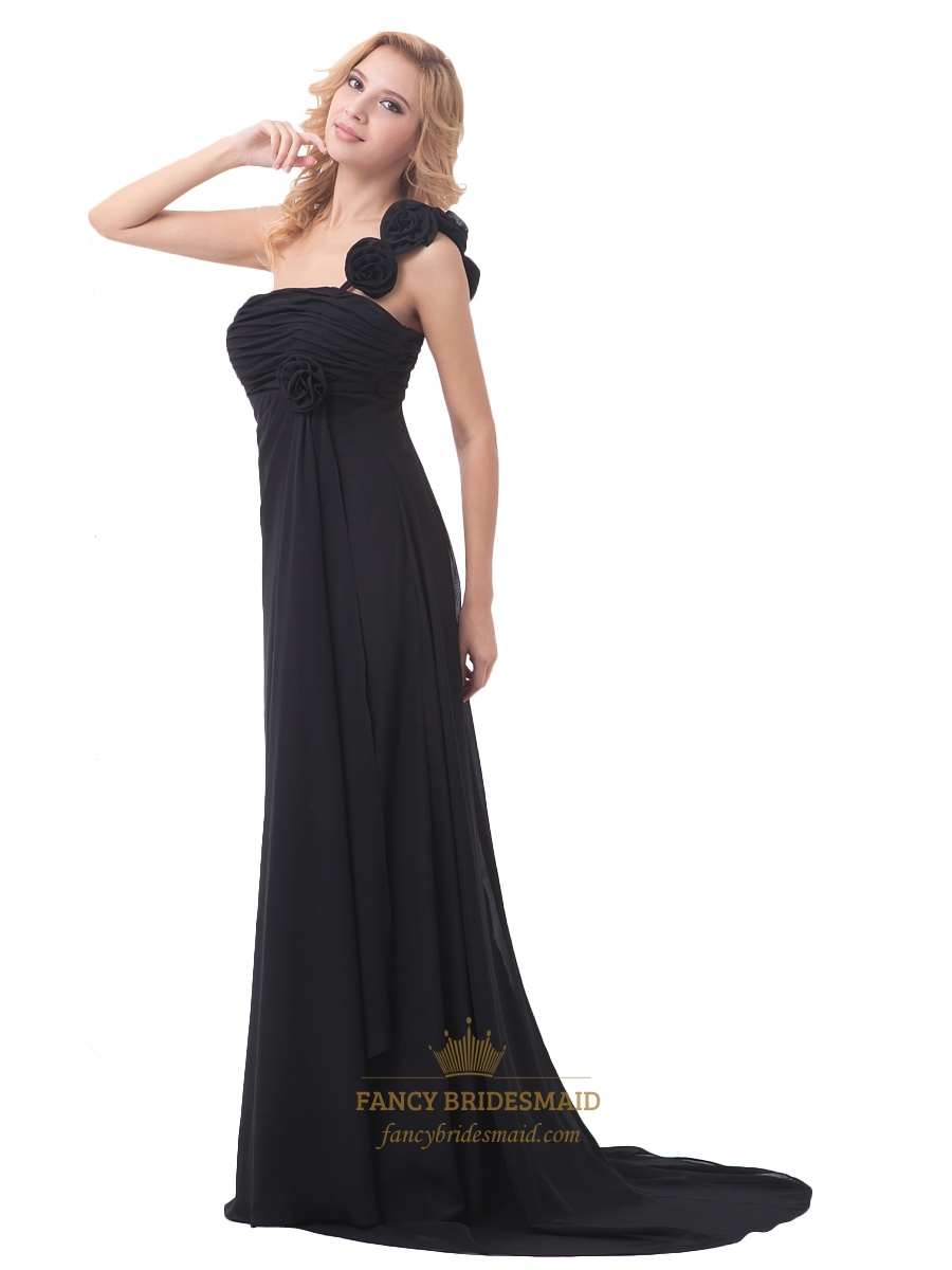 Black one shoulder chiffon bridesmaid dress with flower shoulder black one shoulder chiffon bridesmaid dress with flower shoulder strap ombrellifo Gallery