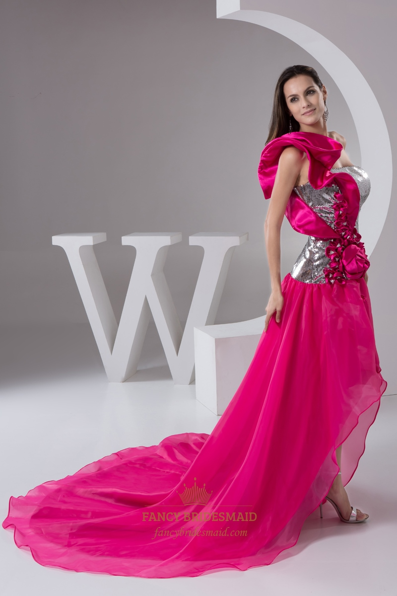 Hot Pink One Shoulder Sequin Bodice Organza Prom Dress