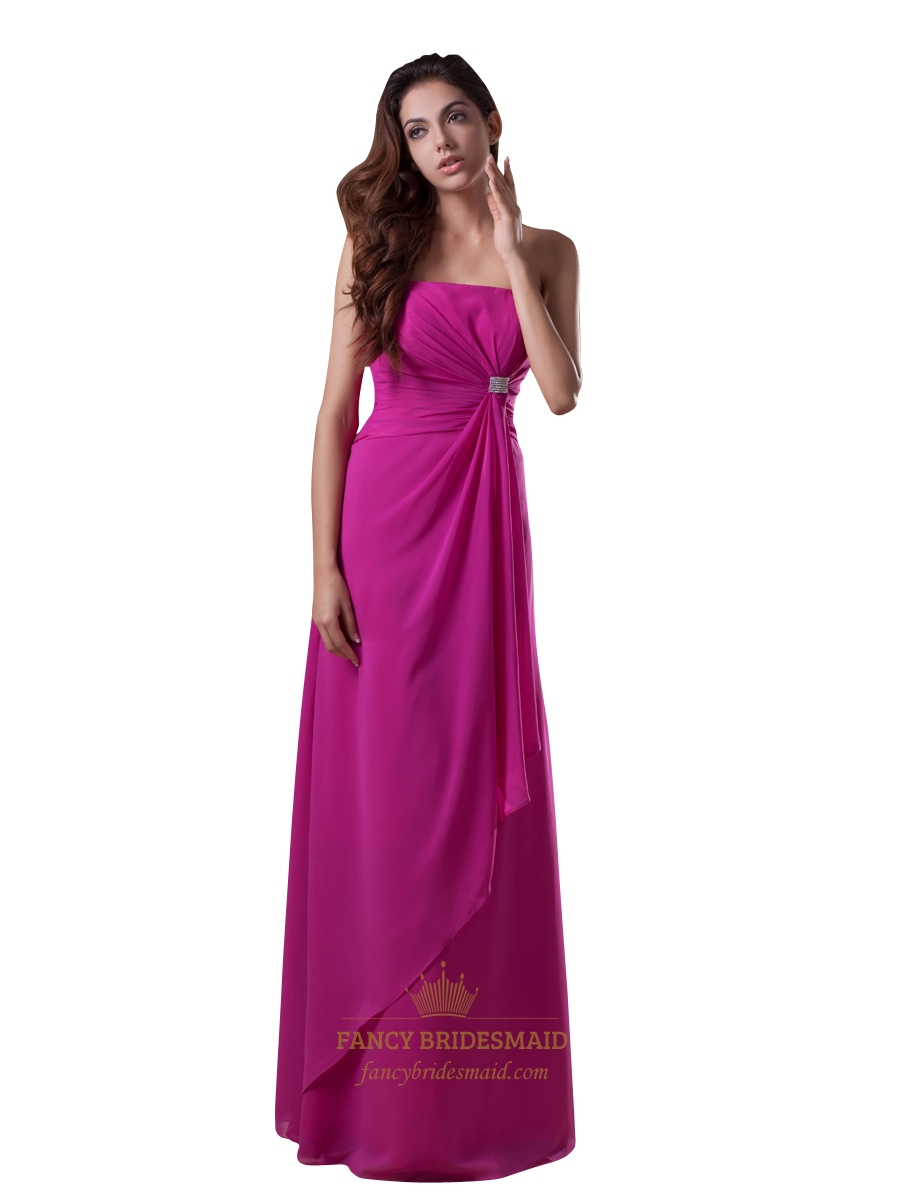 Hot pink strapless chiffon bridesmaid dresses with front for Pink ruffle wedding dress