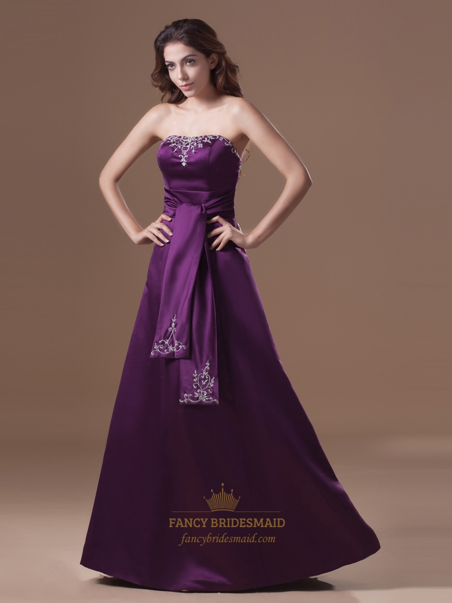 Elegant purple strapless floor length prom dress with for Wedding dress with purple embroidery