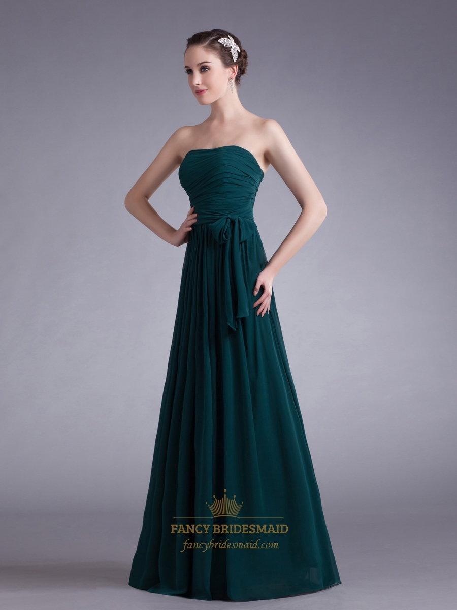 Teal Strapless Chiffon Ruched Bodice Bridesmaid Dresses