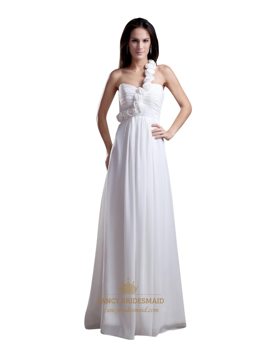 6aabb1e69a0 White One Shoulder Flower Strap Empire Waist Chiffon Bridesmaid Dress SKU  -NW873