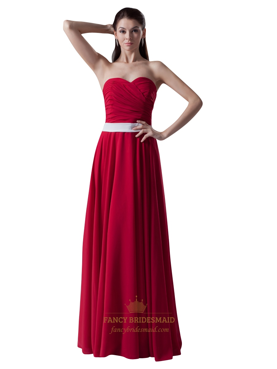 Red strapless sweetheart neckline bridesmaid dress with white sash red strapless sweetheart neckline bridesmaid dress with white sash ombrellifo Gallery