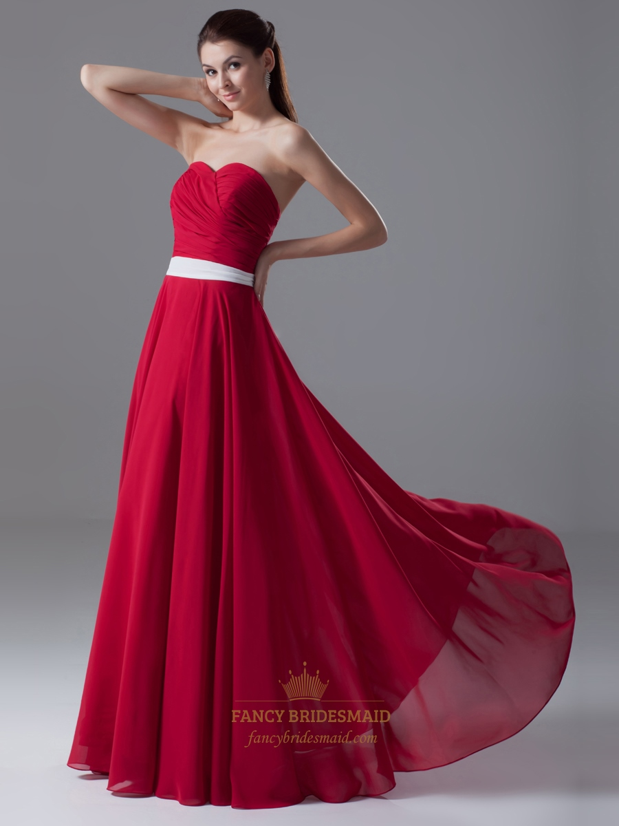 Red strapless sweetheart neckline bridesmaid dress with white sash red strapless sweetheart neckline bridesmaid dress with white sash ombrellifo Image collections