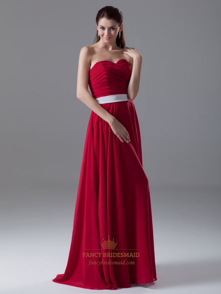 Red strapless sweetheart neckline bridesmaid dress with for Wedding dress with red sash