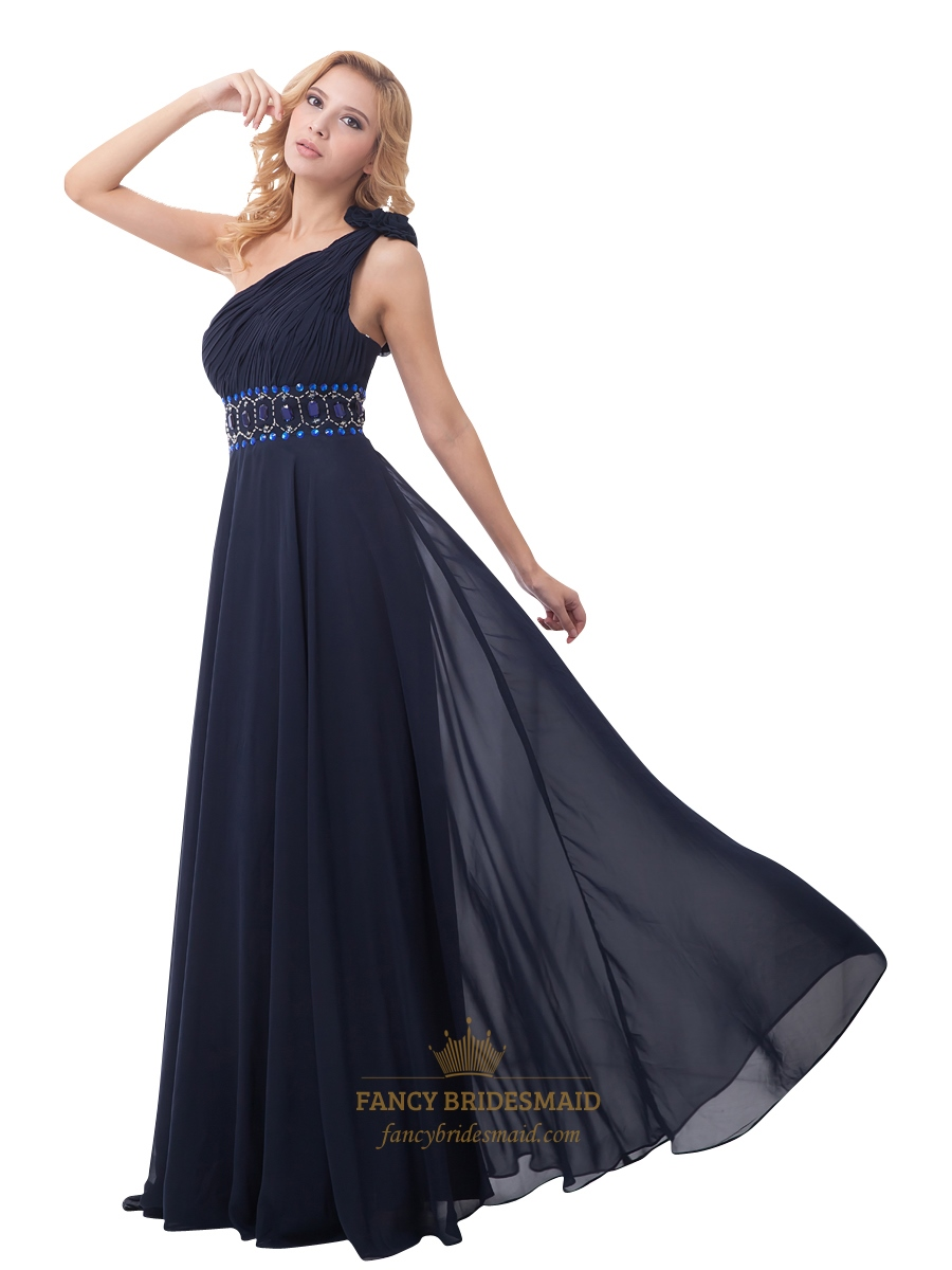 24525356290a Navy Blue Chiffon One Shoulder Rhinestone Prom Dress With Flower Strap SKU  -NW878
