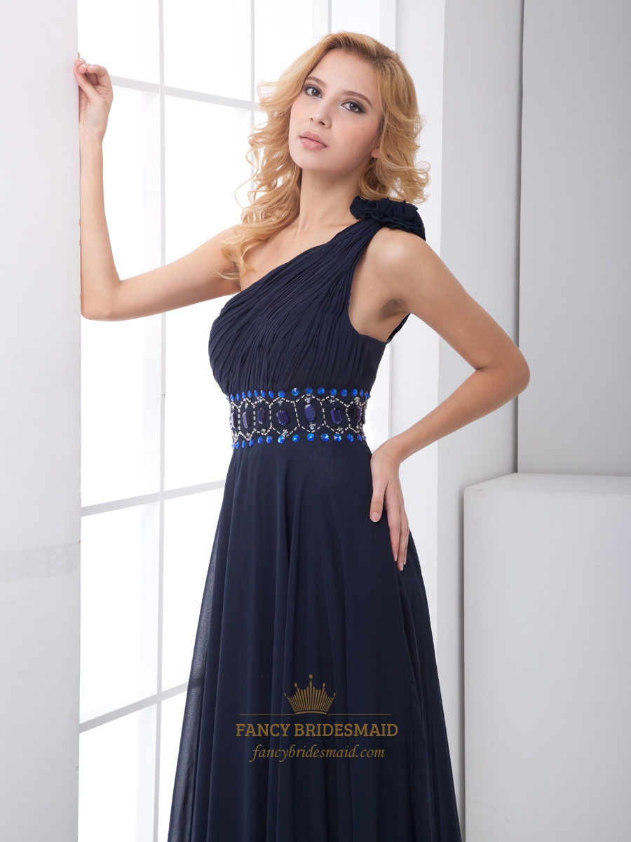 Navy Blue Chiffon One Shoulder Rhinestone Prom Dress With ...
