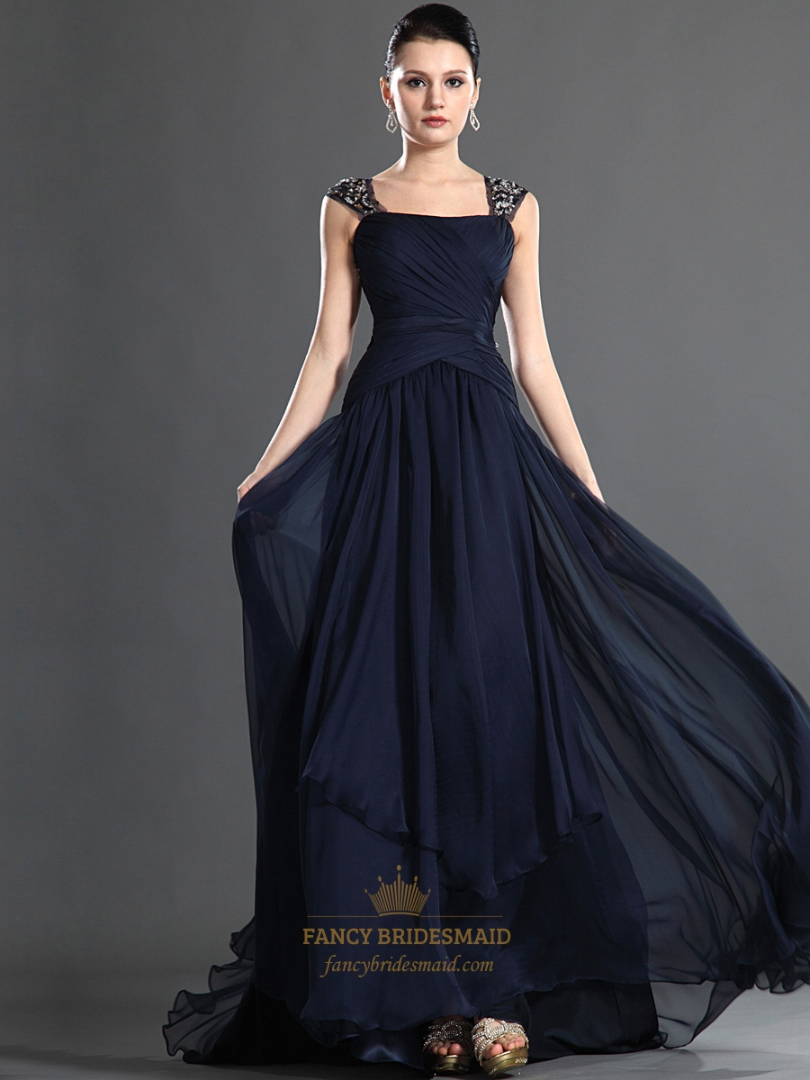 Navy Blue Chiffon Beaded Embellished Prom Dress With Open Back | Fancy Bridesmaid Dresses
