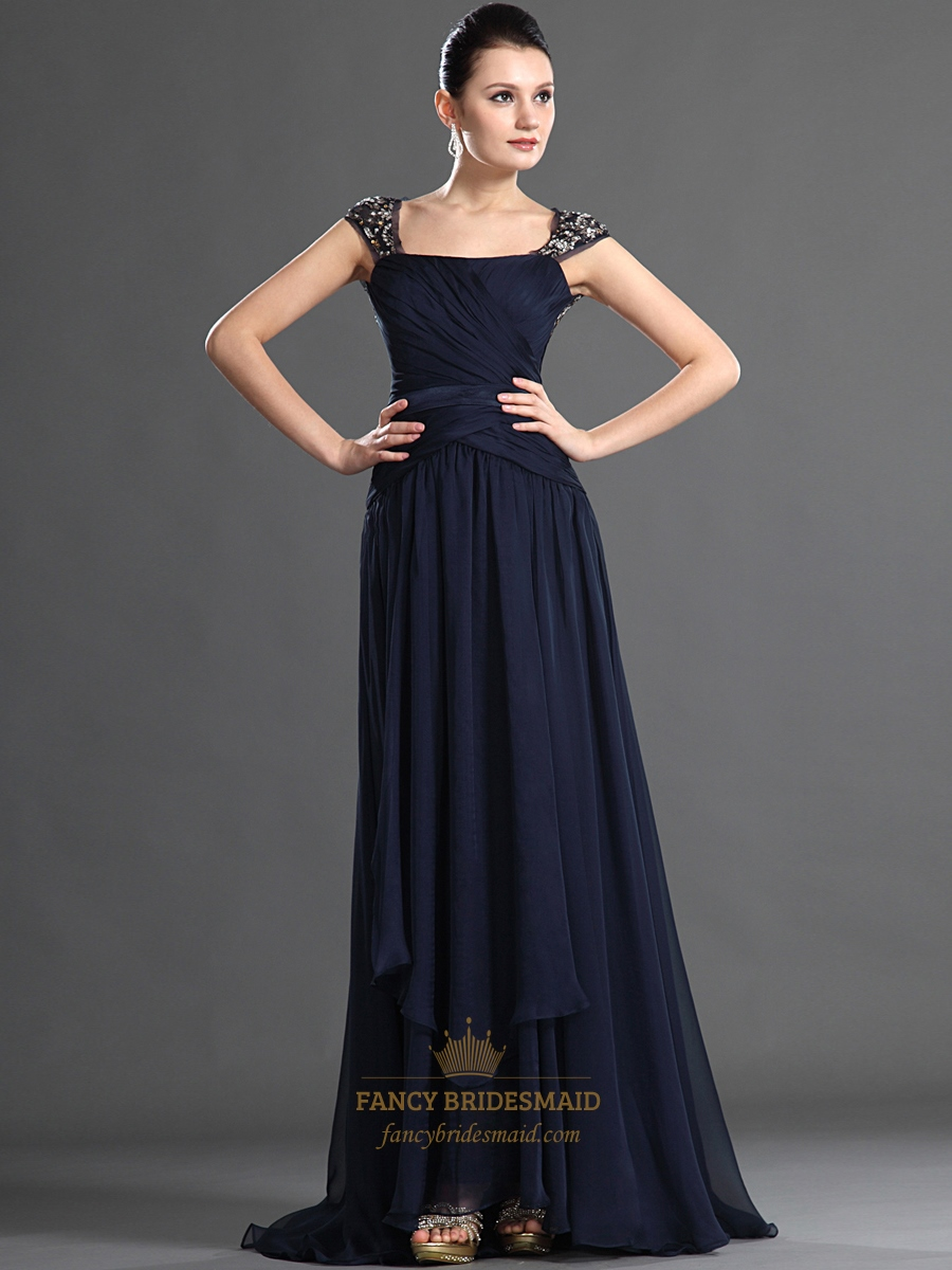 Navy Blue Chiffon Beaded Embellished Prom Dress With Open