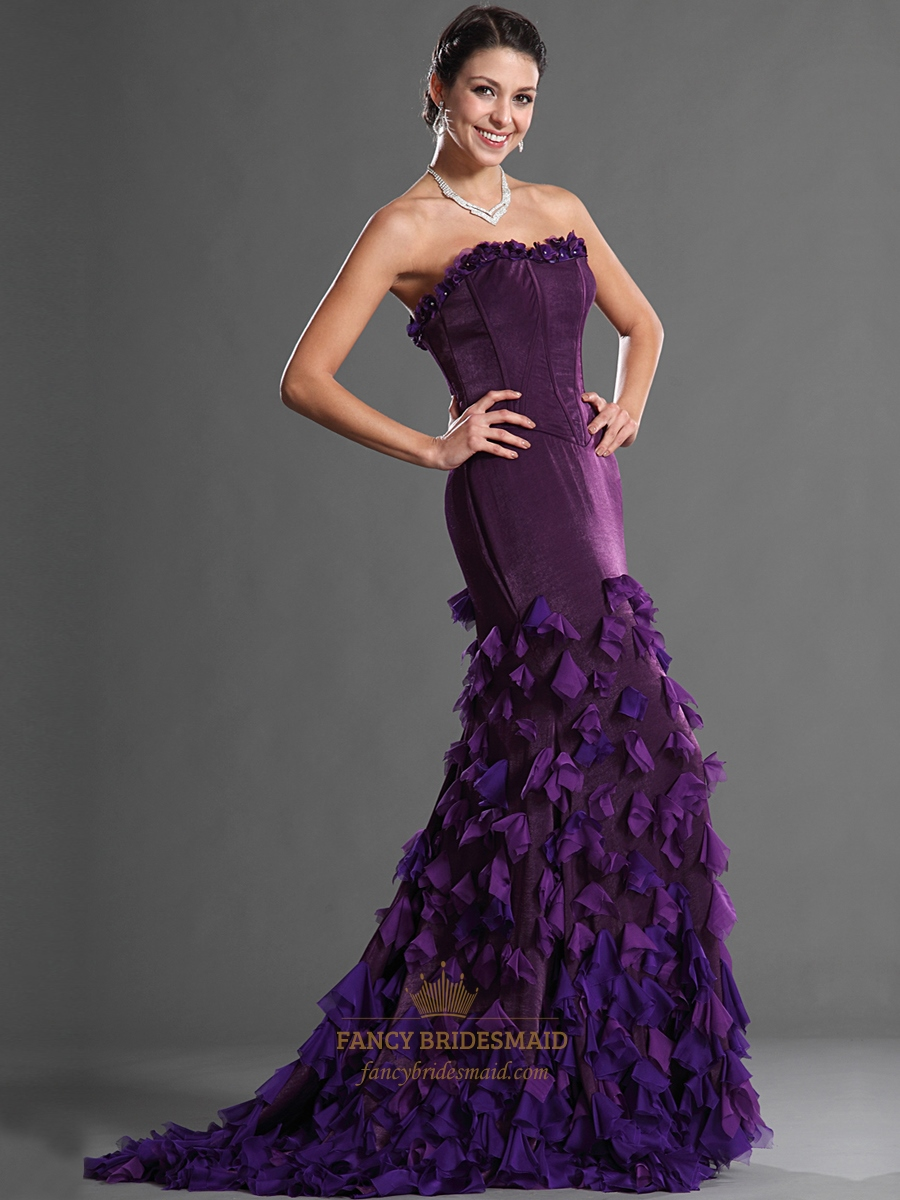 Purple Strapless Petal Embellished Mermaid Prom Dress With
