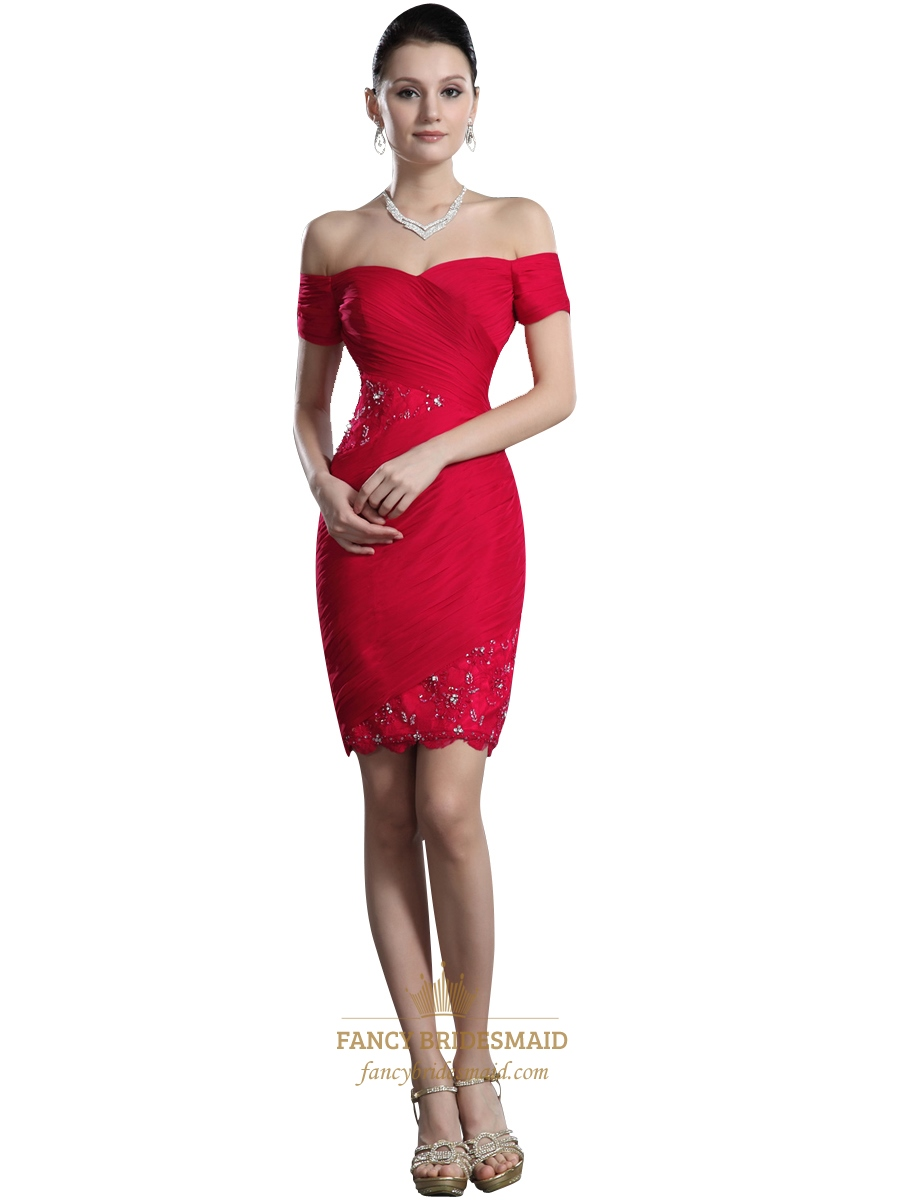 f25fceff74dd Red Off The Shoulder Short Sleeve Chiffon Bodycon Dress With Lace Detail  SKU -NW884