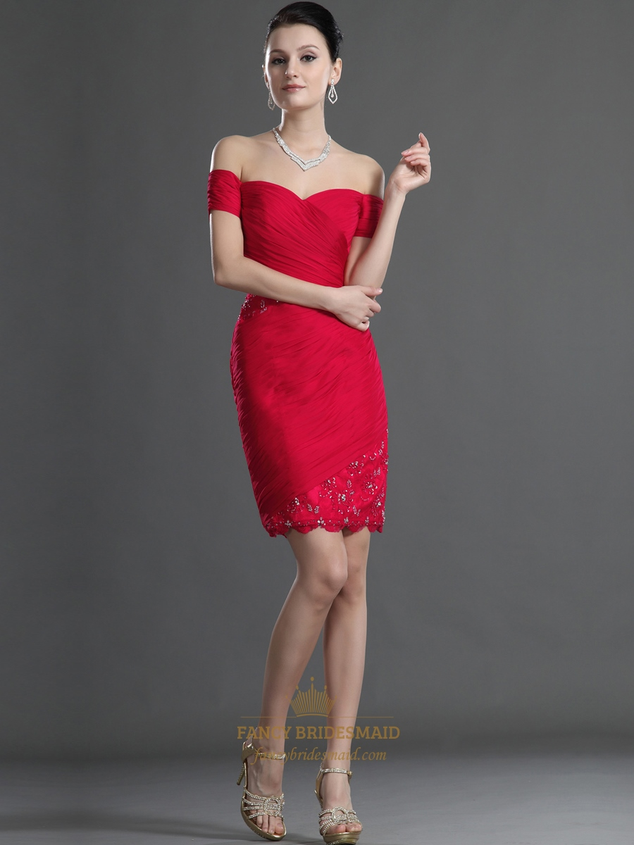 Red Off The Shoulder Short Sleeve Chiffon Bodycon Dress