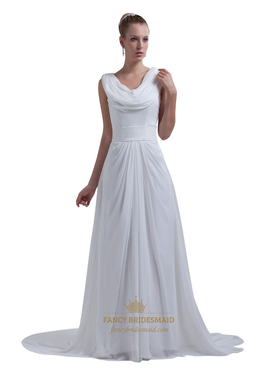 White chiffon cowl neck and back floor length prom dress for Floor length dresses