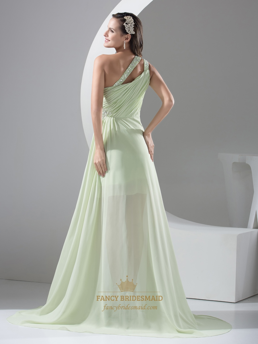Sage Green One Shoulder Beaded Prom Dress With Long Sheer