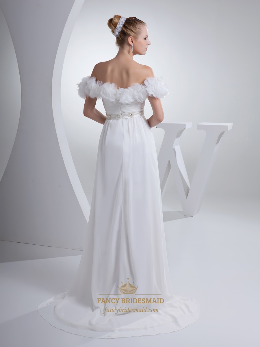 white off the shoulder chiffon flower prom dress with