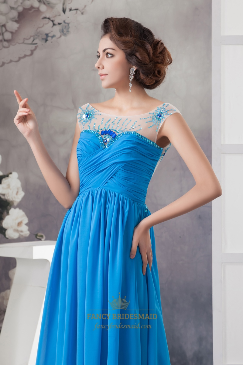 Blue Sheer Illusion Neckline Beaded Chiffon Prom Dress