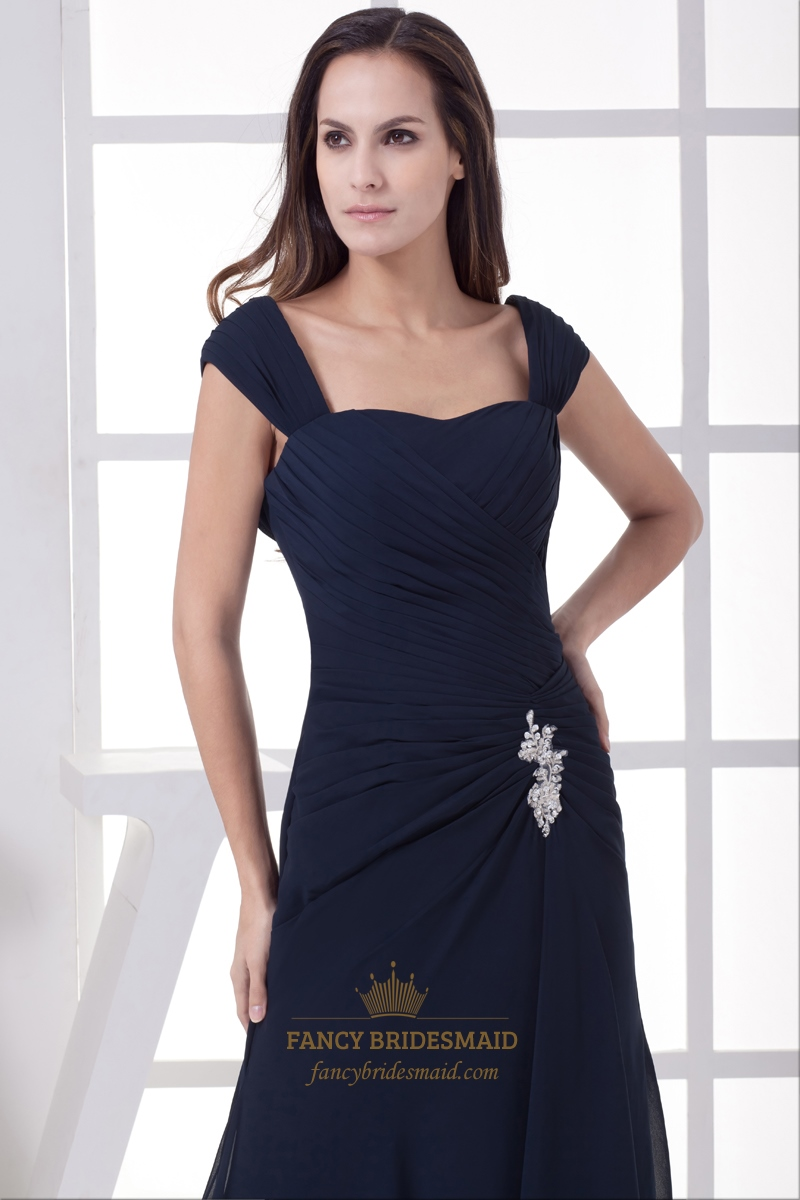 Navy Blue Bridesmaids Dresses With Sleeves : Navy blue side gathered cap sleeves chiffon bridesmaid dress cowl back