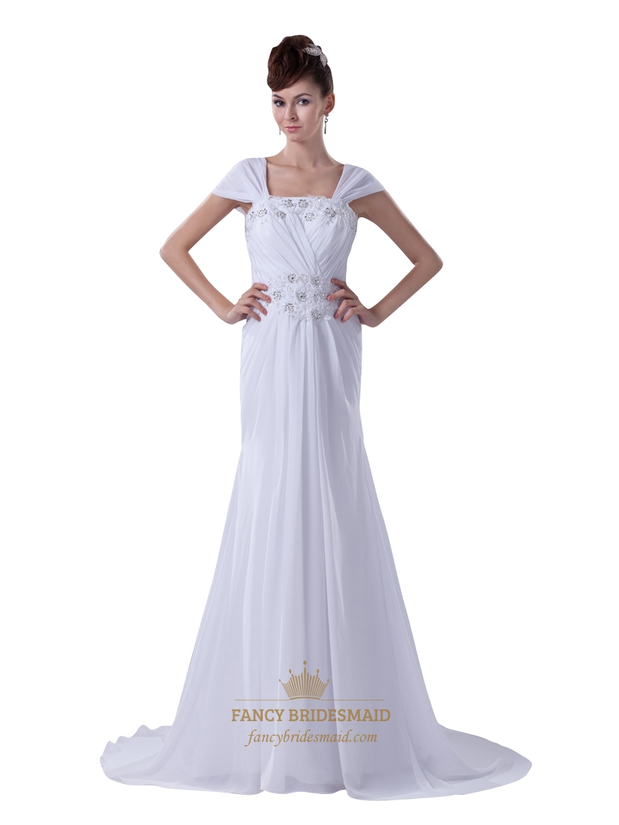 White cap sleeves long chiffon sheath prom dress with for Cap sleeve sheath wedding dress