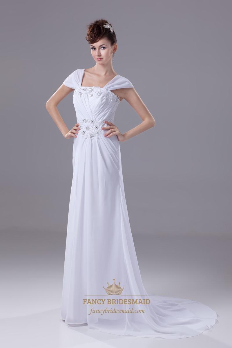 White Cap Sleeves Long Chiffon Sheath Prom Dress With