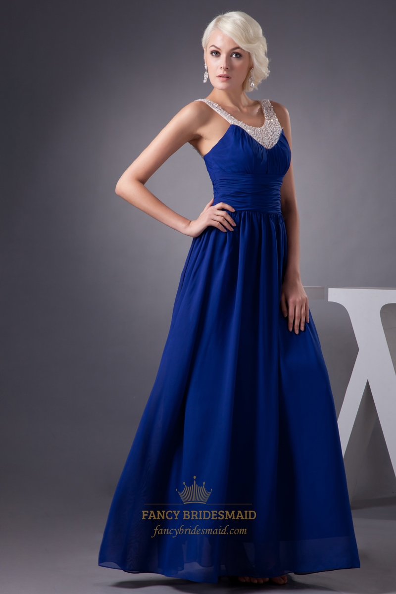 Royal Blue Chiffon Prom Dress With Beaded Neckline And