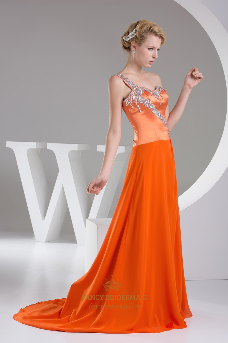 orange one shoulder satin and chiffon prom dress with