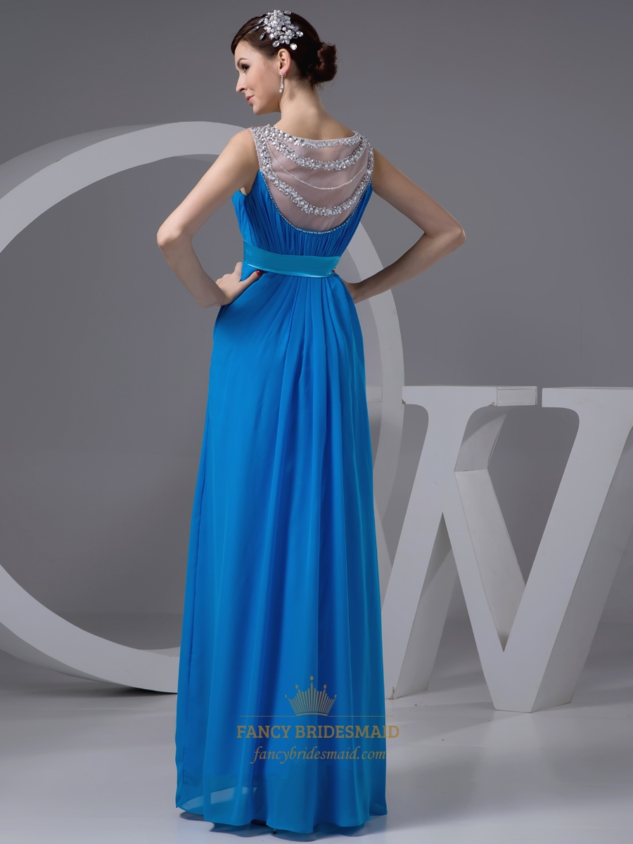 Blue Beaded Neckline Satin Belt Chiffon Prom Dress With