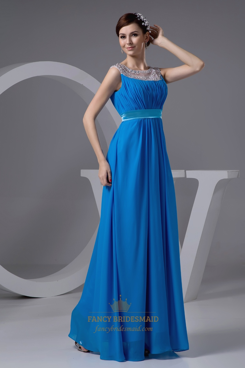 Blue Beaded Neckline Satin Belt Chiffon Prom Dress With
