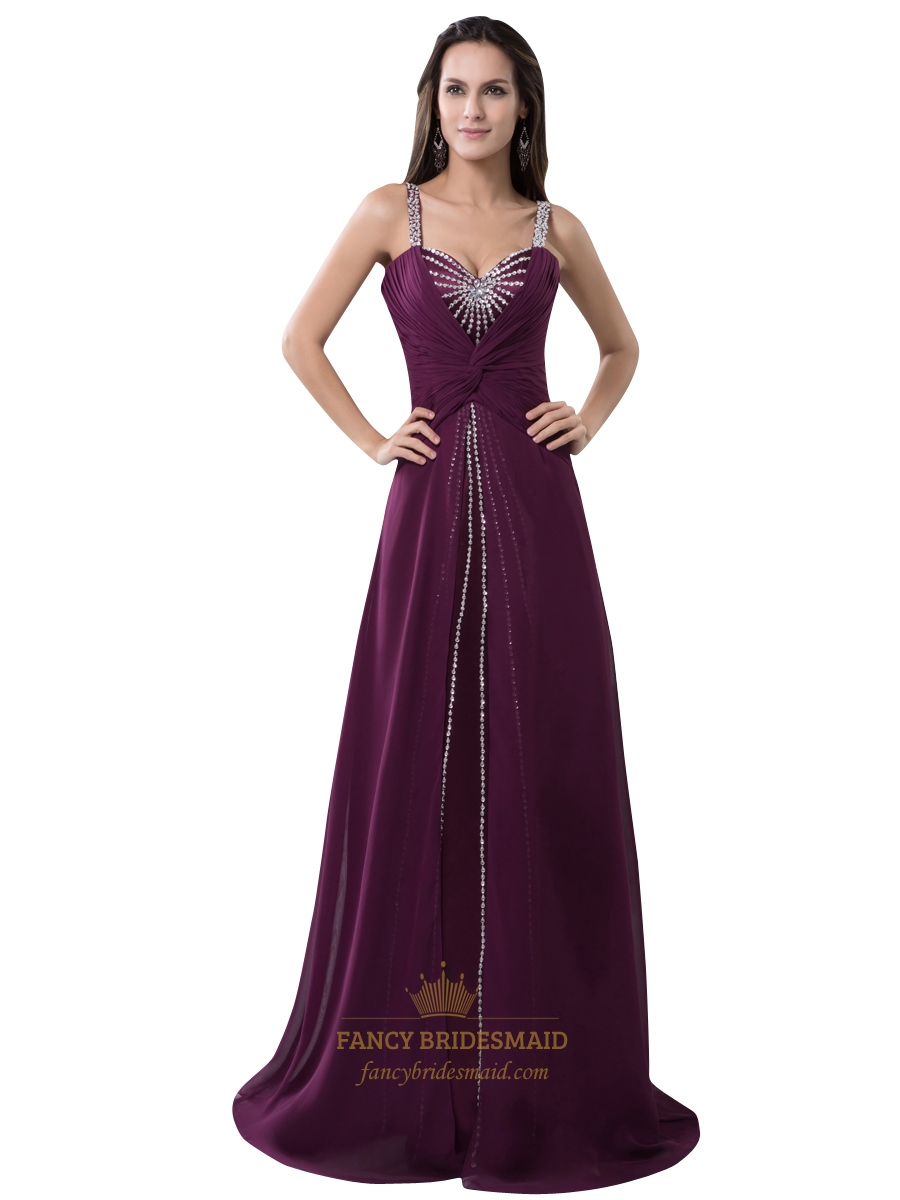 Grape Chiffon Spaghetti Strap Prom Dress Beaded Neckline And Straps ...