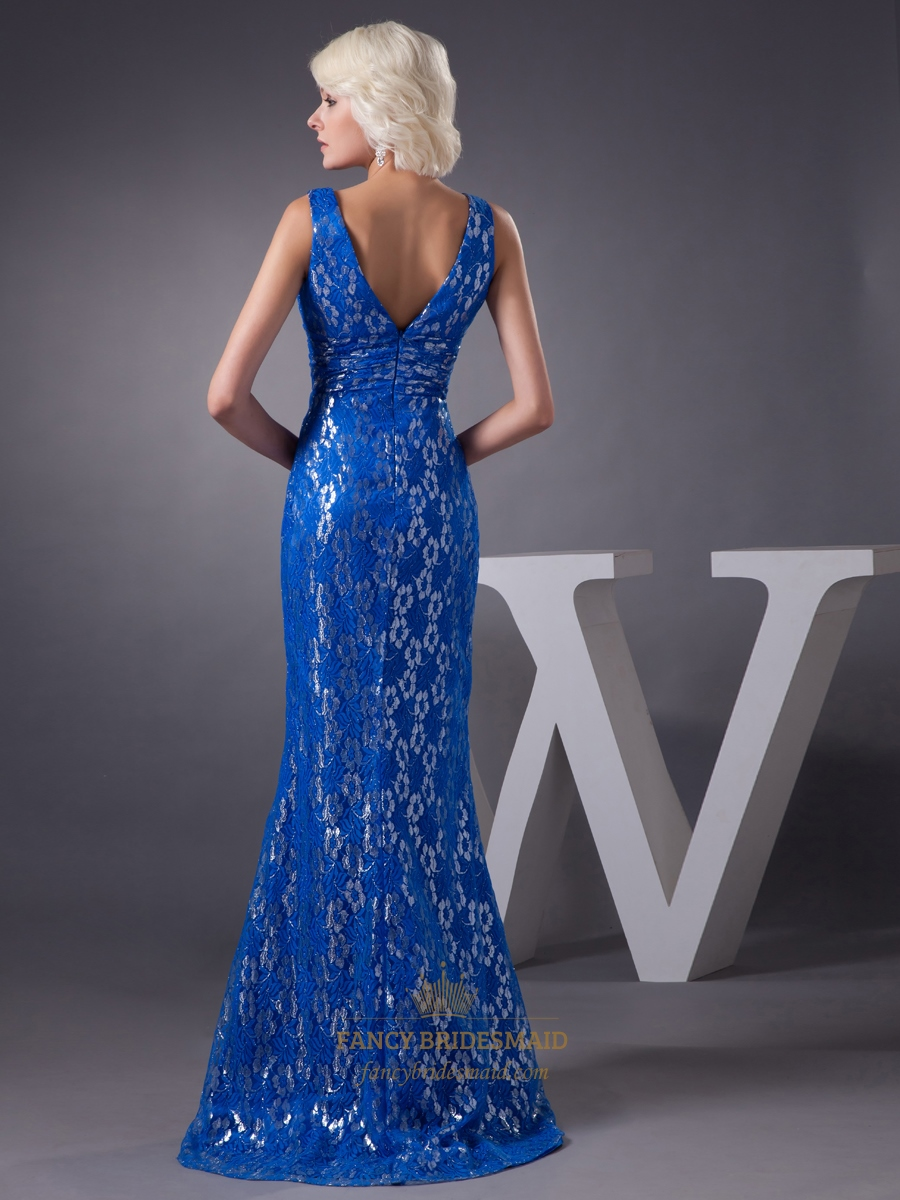 Royal Blue Mermaid Lace Sleeveless V-Neck Floor Length ...
