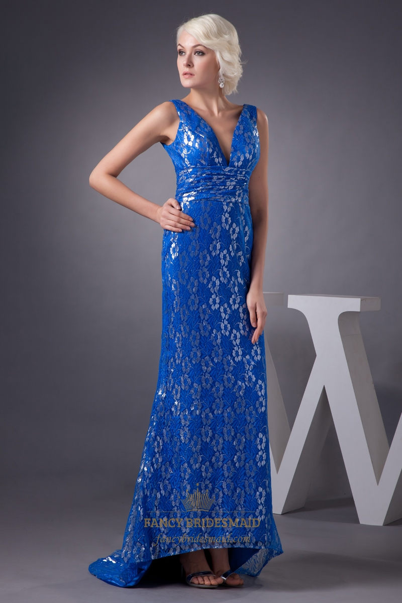 Royal Blue Mermaid Lace Sleeveless V Neck Floor Length