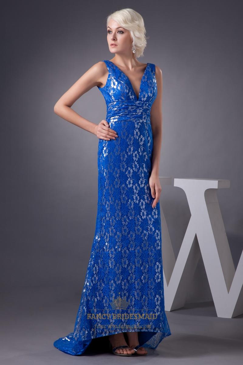 Royal Blue Mermaid Lace Sleeveless V-Neck Floor Length