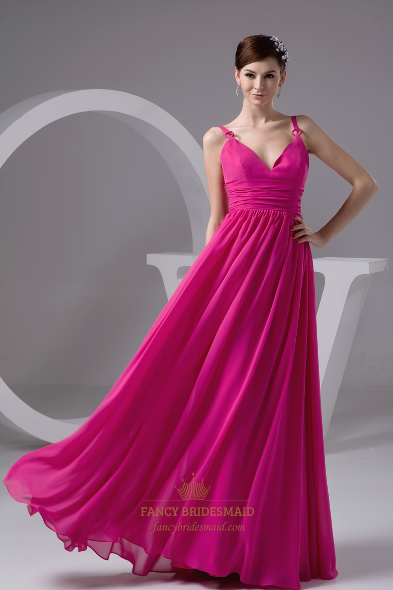 Hot pink v neck spaghetti strap chiffon bridesmaid dress for Fuchsia dress for wedding