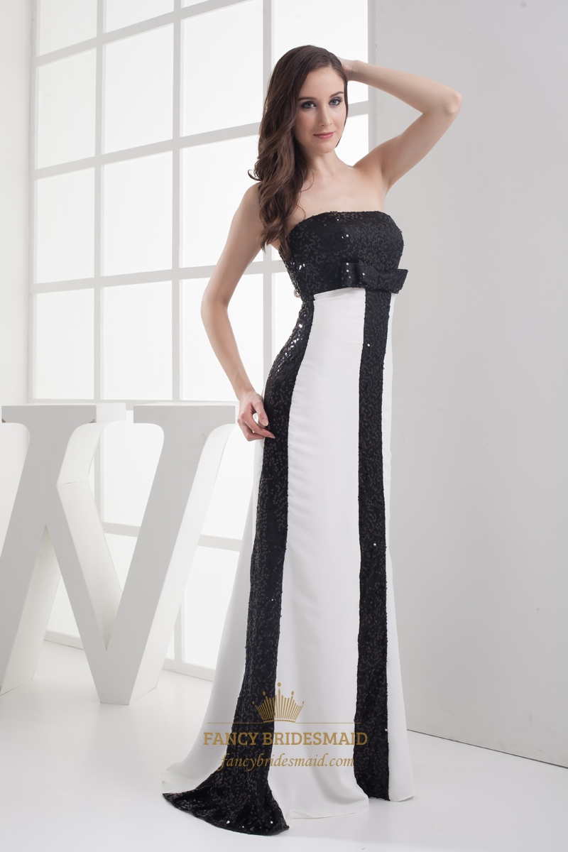 Black And White Empire Slim Sheath Strapless Sequin Prom