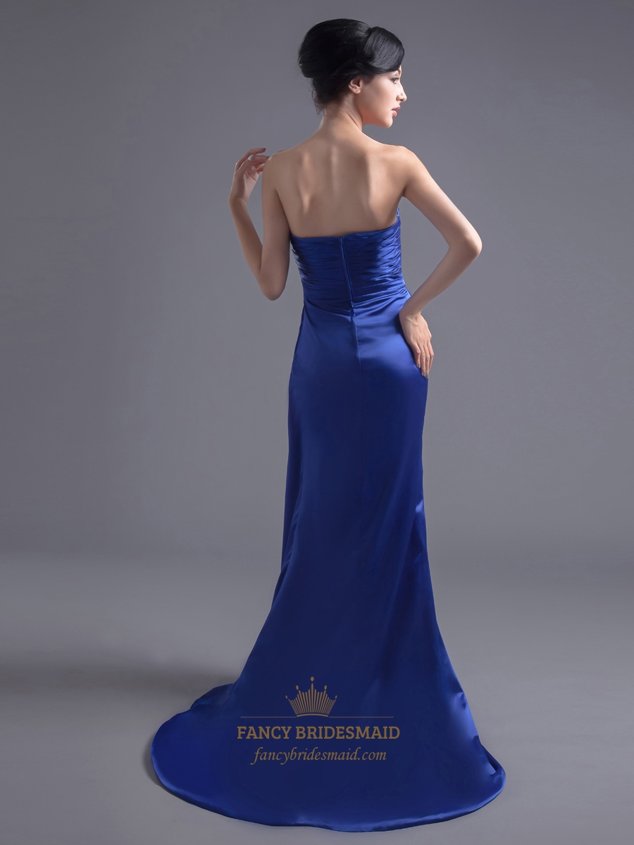 Royal Blue Strapless Satin Bridesmaid Dress With Beaded ...