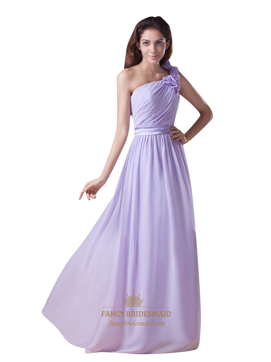 Lilac One Shoulder Ruffle Chiffon Long Bridesmaid Dresses With ...