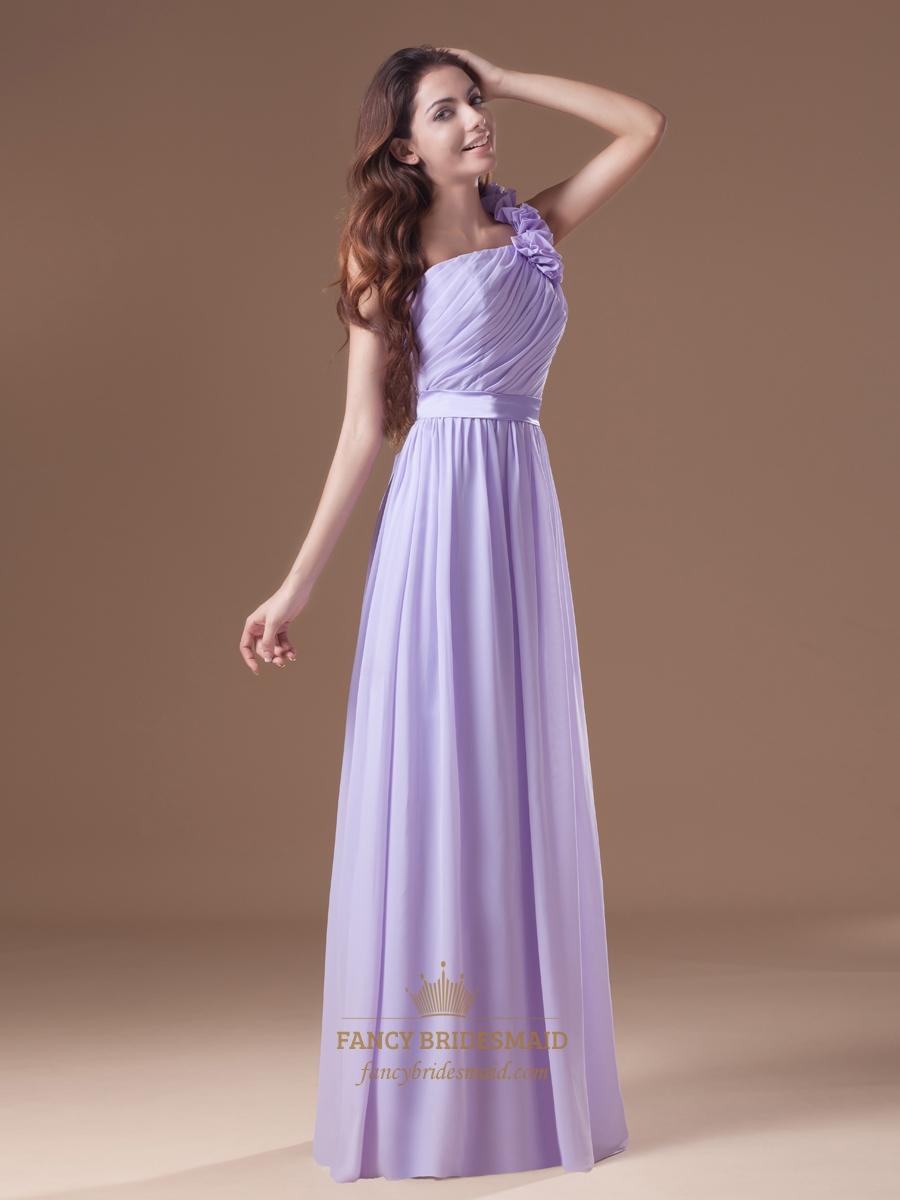 Lilac One Shoulder Ruffle Chiffon Long Bridesmaid Dresses