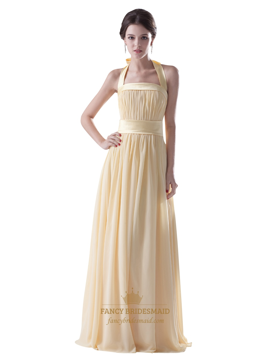 Pale yellow halter neck chiffon long bridesmaid dress with for Yellow wedding dresses for sale
