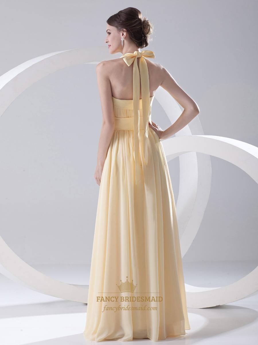 pale yellow halter neck chiffon long bridesmaid dress with