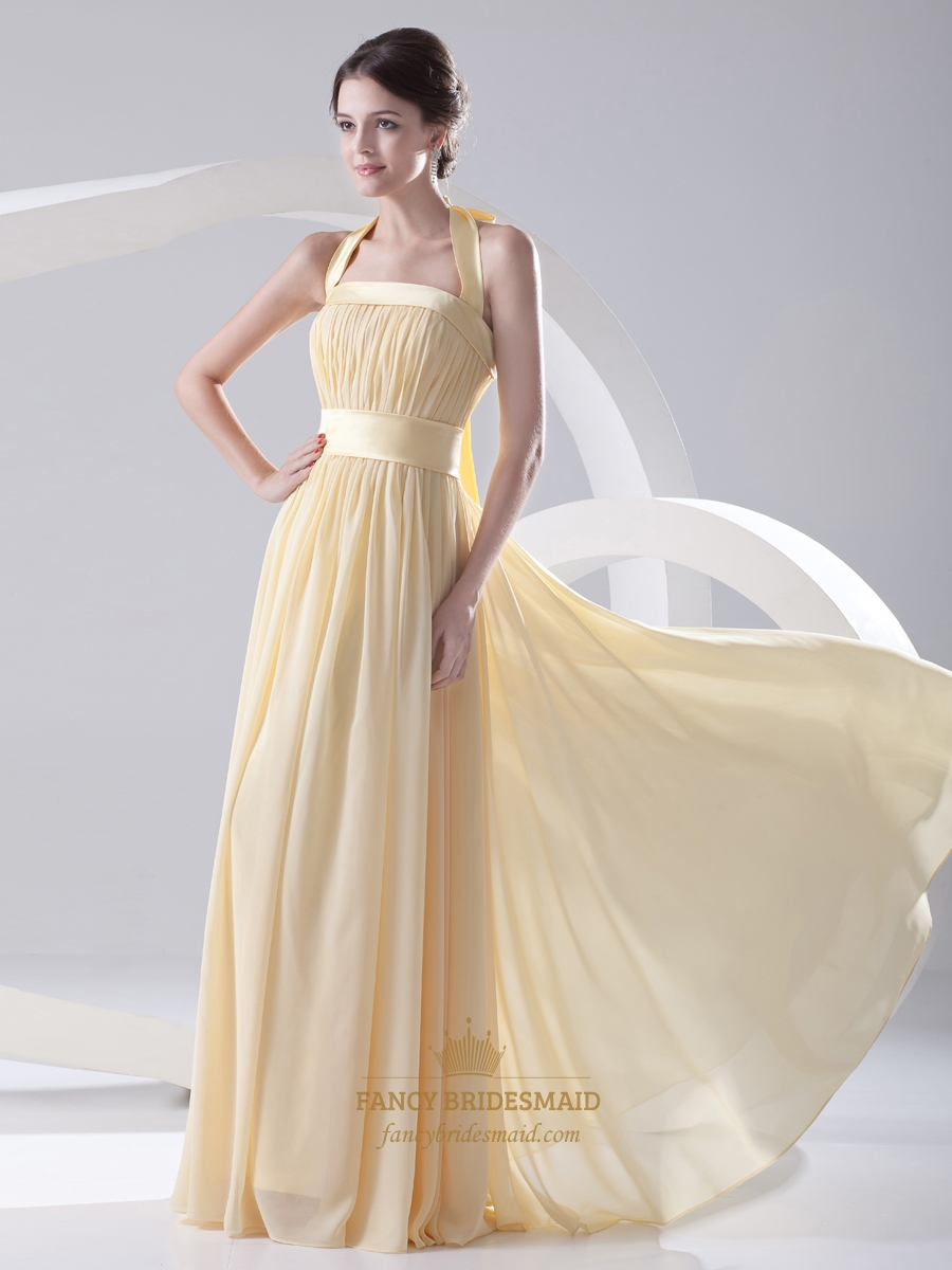 Pale yellow halter neck chiffon long bridesmaid dress with bow on pale yellow halter neck chiffon long bridesmaid dress with bow on back ombrellifo Choice Image