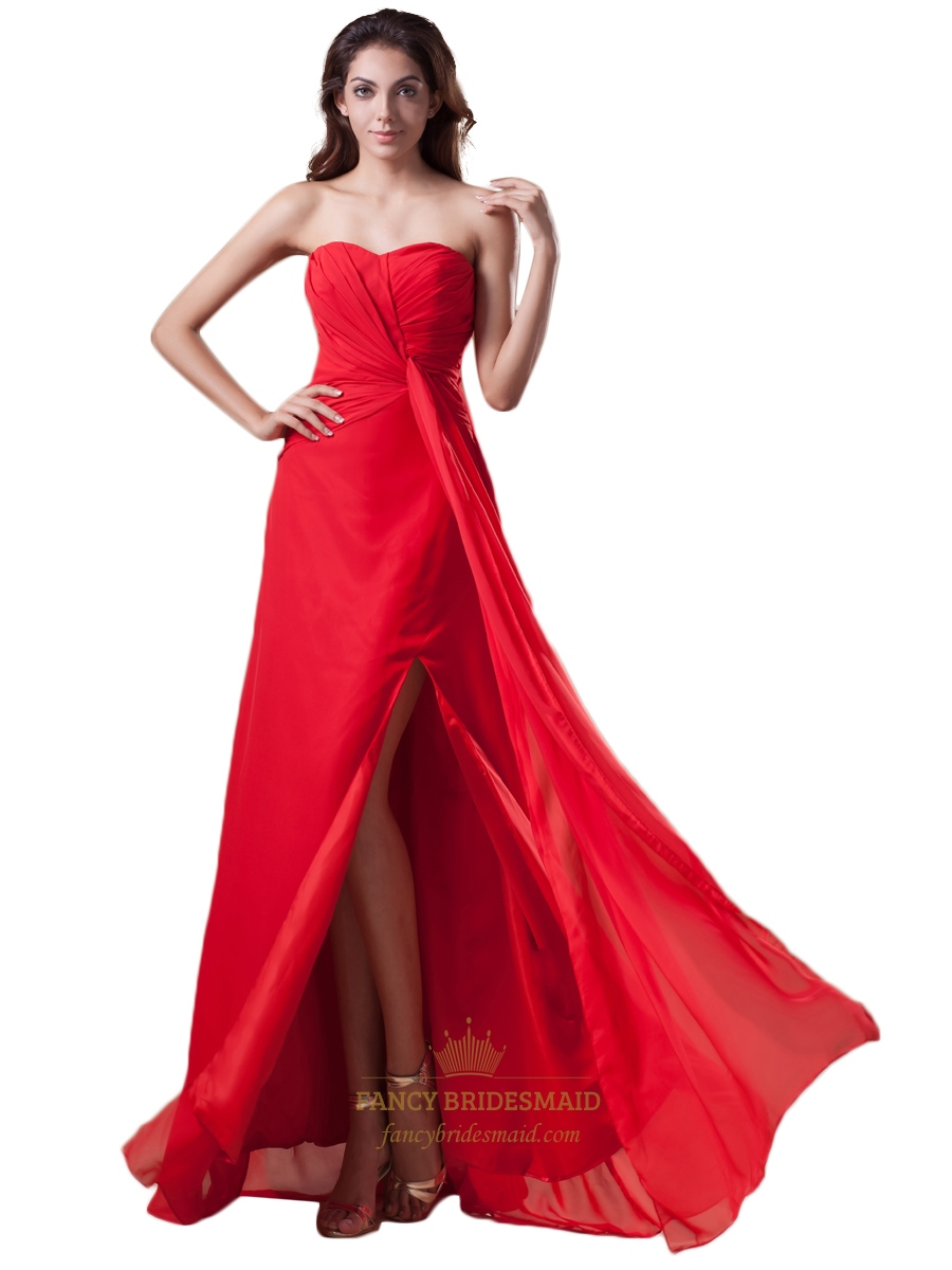 Red chiffon strapless panel train bridesmaid dresses with twist red chiffon strapless panel train bridesmaid dresses with twist front ombrellifo Image collections