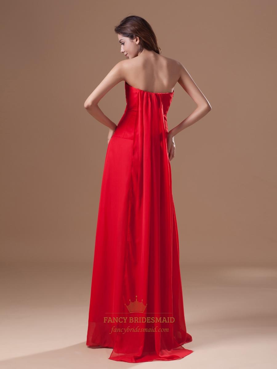 Red chiffon strapless panel train bridesmaid dresses with twist red chiffon strapless panel train bridesmaid dresses with twist front ombrellifo Choice Image