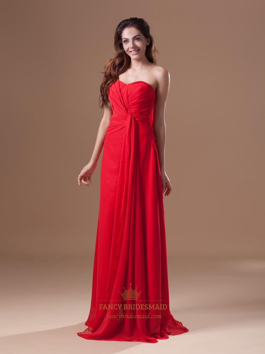 Red Chiffon Strapless Panel Train Bridesmaid Dresses With