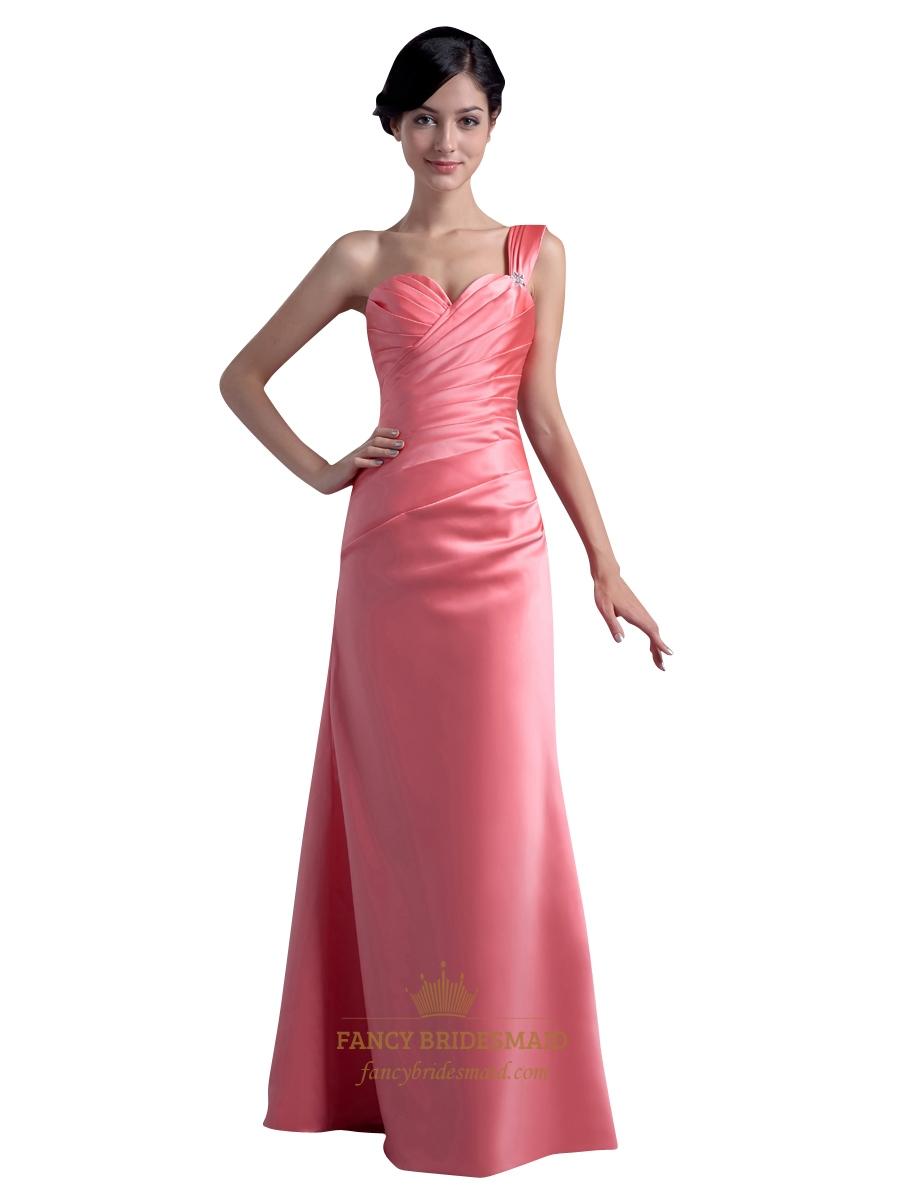 Coral one shoulder satin sheath long bridesmaid dresses with coral one shoulder satin sheath long bridesmaid dresses with ruching ombrellifo Choice Image